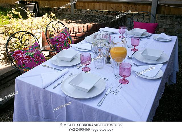Set Table for Lunch on Garden Patio - UK