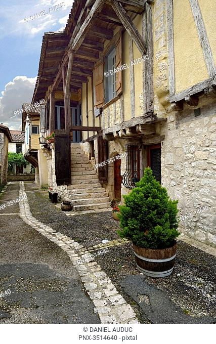 France, Dordogne, vertical view of a medieval street Issigeac