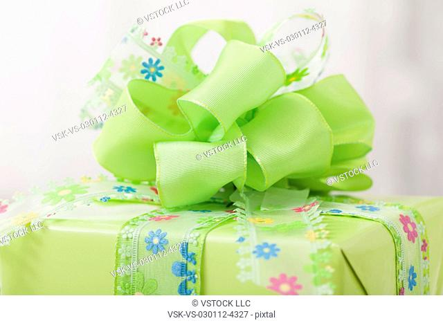 Gift wrapped in green paper