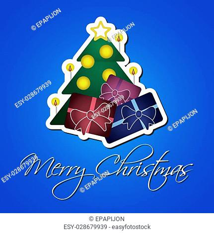 greeting card or sticker - green Christmas tree with gold star, baubles, candles, colored gifts and text on a blue background