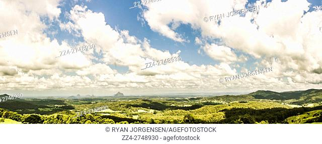 Green wide angle landscape of a picturesque Maleny hinterland panorama on the Sunshine Coast Hinterland of Queensland, Australia