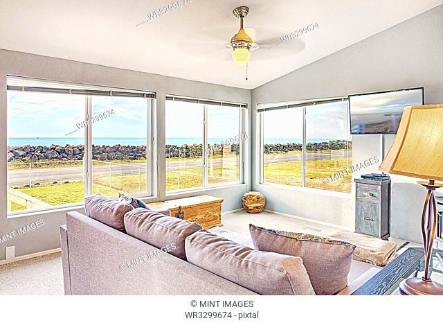 Sofa and windows in modern living room