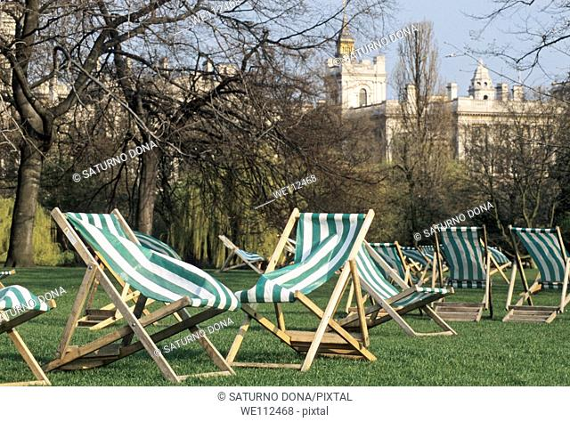 Deck-chairs in St James Park, London, England, UK
