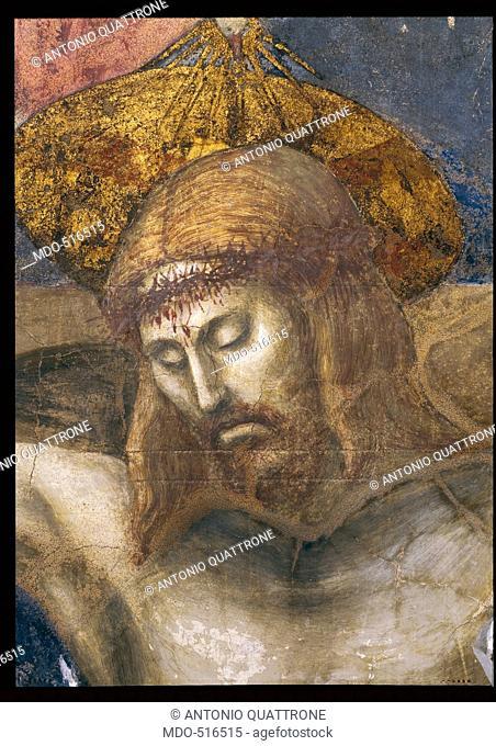 The Trinity, by Tommaso di Ser Giovanni Cassai known as Masaccio, 1426 - 1428, 15th Century, fresco, cm 667 x 317. Italy, Tuscany, Florence