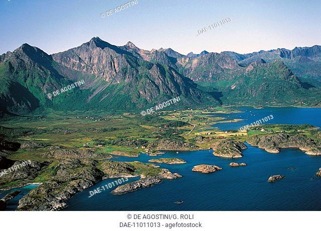 The coastline near the village of Stamsund, Vestvagoy, Lofoten islands, Norway