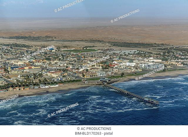 Aerial view of Swakopmund cityscape and beach, Namib Desert, Namibia