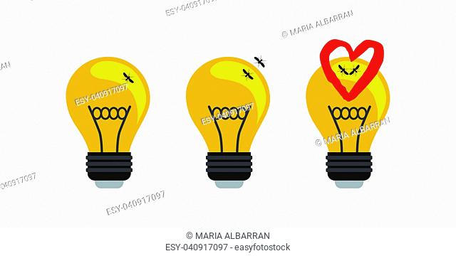 Love story between two mosquitoes in a light bulb. Vector illustration