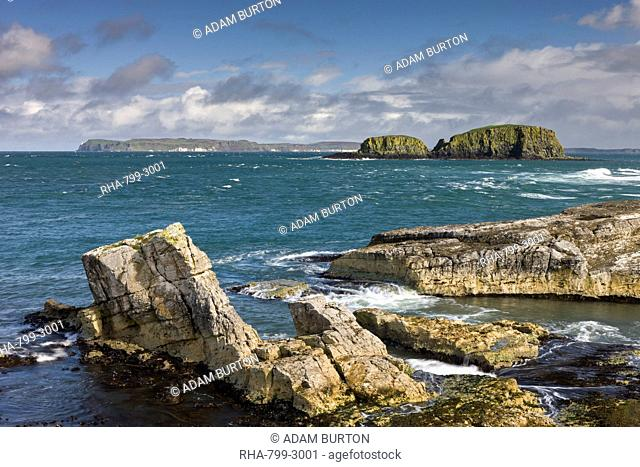Dramatic coastline of Ballintoy on the Causeway Coast, County Antrim, Ulster, Northern Ireland, United Kingdom, Europe