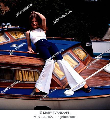 Female model on cruising boat 1970s, Retro, Fashion, Fashons, Posing, Flares