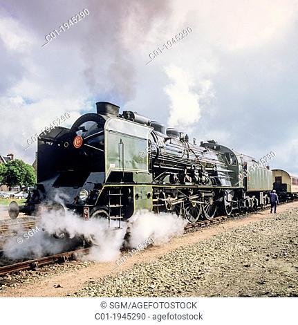 Historic steam locomotive 'Pacific PLM 231 K 8' of 'Paimpol-Pontrieux' train Brittany France