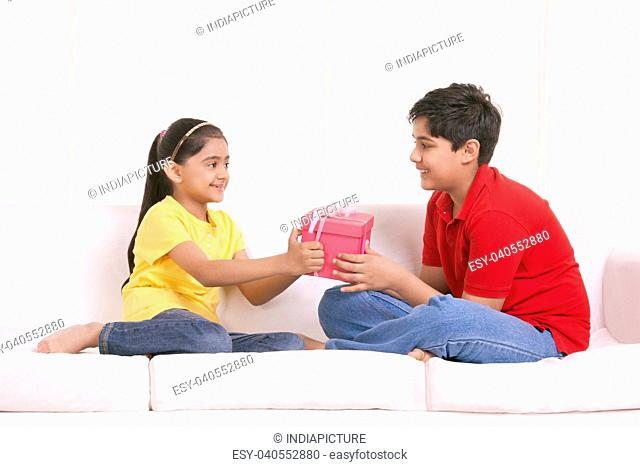 Brother and sister holding gift box