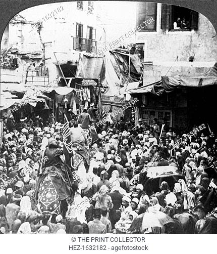 'The Holy Carpet Parade with the Mahmal, Cairo, Egypt', 1905. 'Every year at the expense of the Sultan a fine carpet or huge fabric for festooning the Kaaba at...