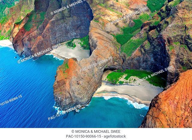 Hawaii, Kauai, Na Pali Coast, Aerial of coastal cliffs and Honopu Beach or Cathedral Beach