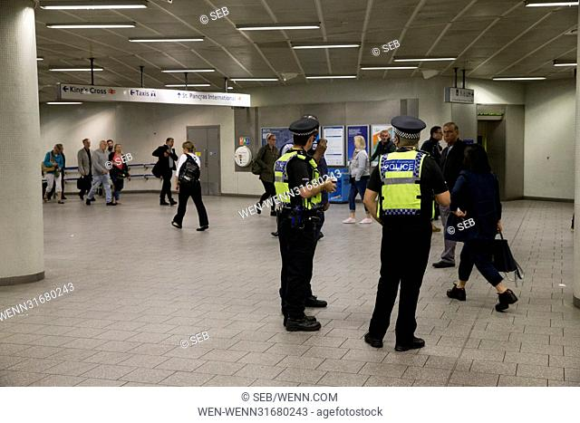 Extra police at King's Cross St. Pancras Underground and international station after the recent terrorist attack in London