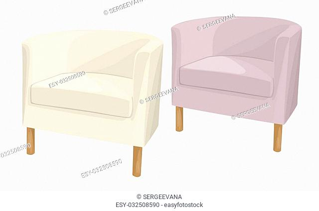 Armchairs domestic soft semicircular of different colors on the legs
