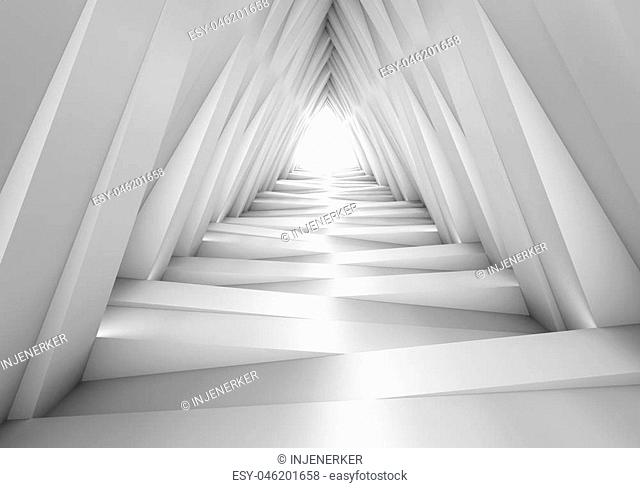 Abstract tunnel in the gray notes. The light at the end of the tunnel. 3D illustration