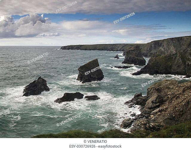 Sea landscape of Bedruthan Steps on Cornwall coastline in England