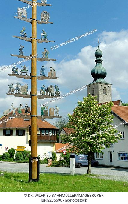 May pole in front of the St. John the Baptist parish church, Tyrlaching, Upper Bavaria, Germany, Europe