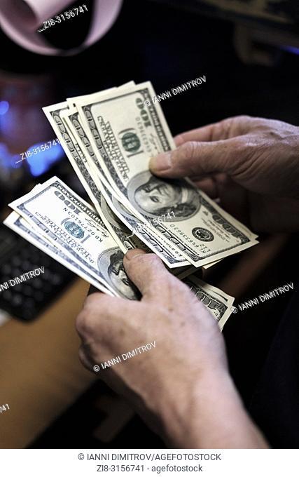 American Hundred dollar bills-counting cash