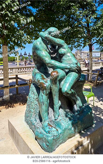 The Kiss, Auguste Rodin, 1840-1917 , Musee de L'Orangerie, Place de la Concorde, Paris, France