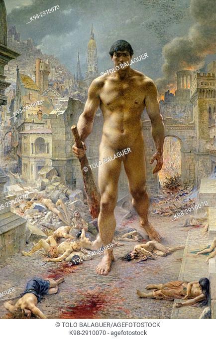 Henri Camille Danger (1857-1940), . Fléau !, . 1901, . Huile sur toile, Orsay Museum, Paris, France,Western Europe
