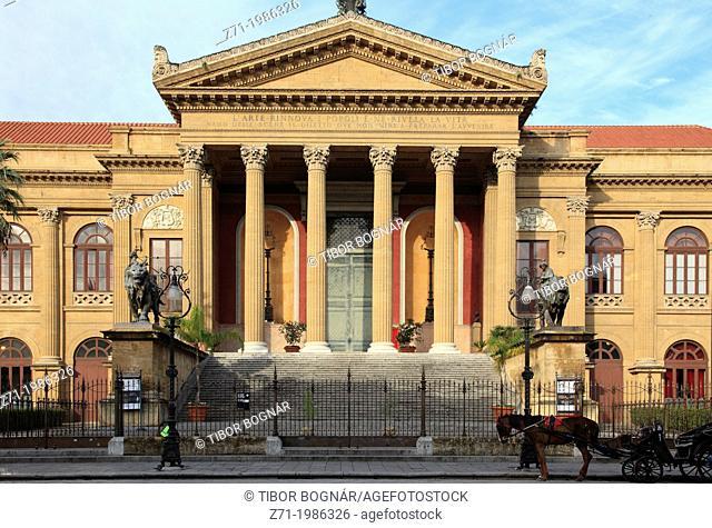 Italy, Sicily, Palermo, Teatro Massimo,