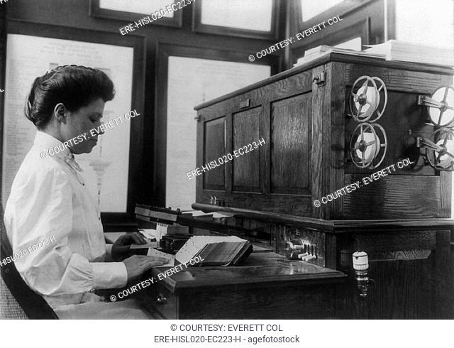 Women working with punch cards at an early tabulating machine at the U.S. Census Bureau, ca. 1908
