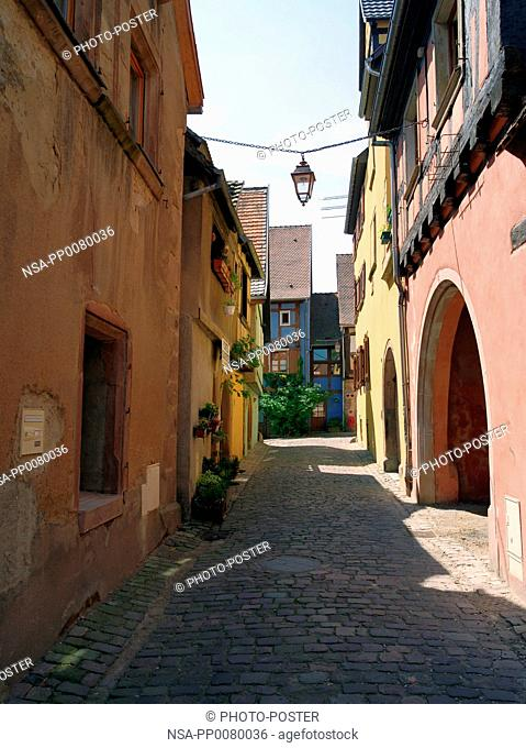 Street, with its facade in Riquewihr in Alsace, France
