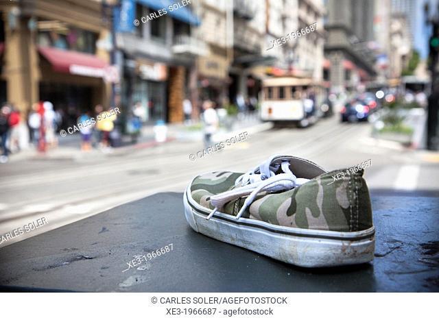 Shoe on the street, Powell Street, San Francisco
