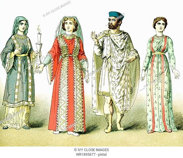 This illustration shows four people who lived after A.D. 330, when Chtistianity became the religion of the Roman Empire. The figures, from left to right
