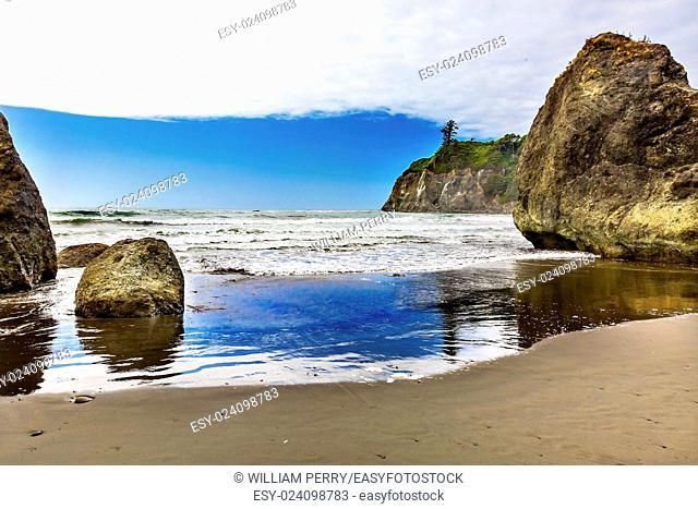 Ruby Beach Reflection Seastacks Olympic Peninsula Olympic National Park Washington State Pacific Northwest