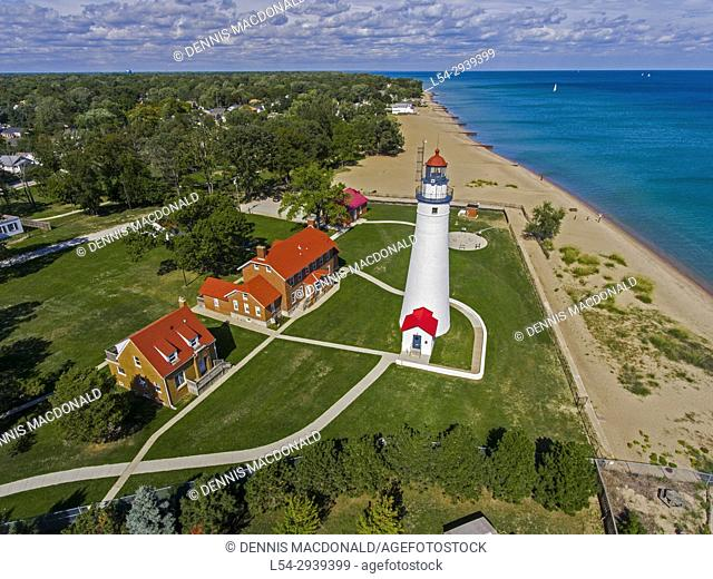 The Fort Gratiot Lighthouse stationed at Port Huron Michigan aerial view