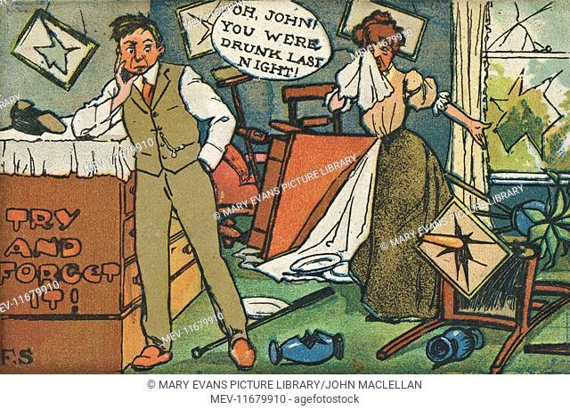 Comic postcard, couple in a trashed room -- Oh John, you were drunk last night! -- Try and forget it!