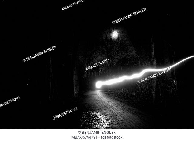 time exposure, beam of light at night, Germany