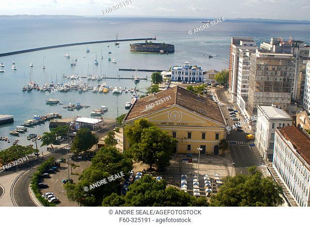 Aerial view of old Mercado Modelo and Todos os Santos Bay, Salvador. Bahia, Brazil