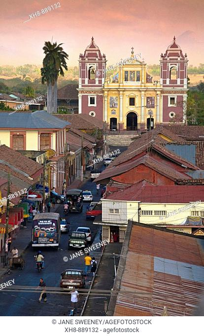 View from cathedral looking across rooftops towards El Calvario church, Leon, Nicaragua