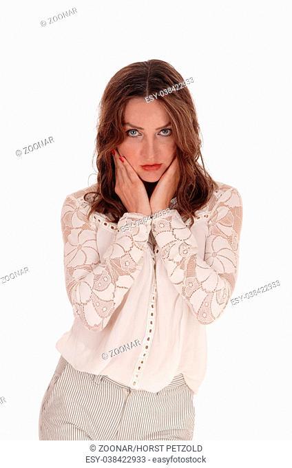 Beautiful serious looking woman