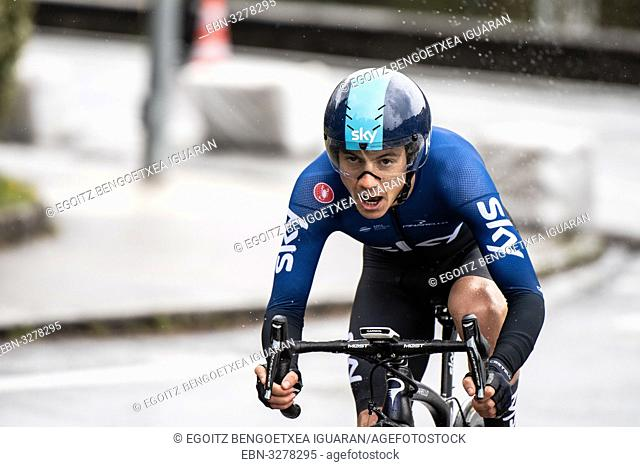 Kenny Elissonde at Zumarraga, at the first stage of Itzulia, Basque Country Tour. Cycling Time Trial race