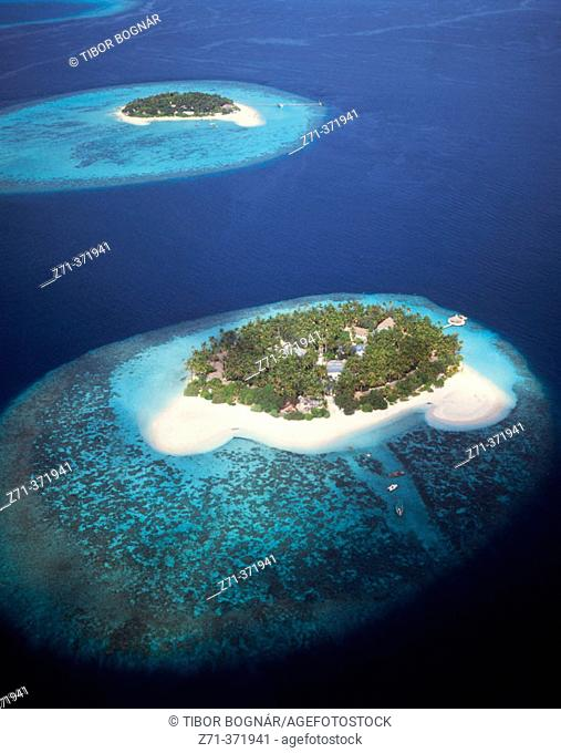 Aerial view on islands, Maldives