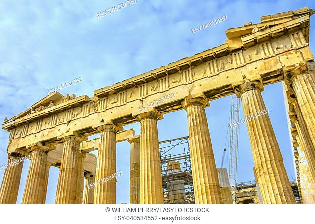Statues Top Parthenon Acropolis Athens Greece. Parthenon is Temple to Athena on the Acropolis. Temple created 438 BC and is symbol of ancient Greece