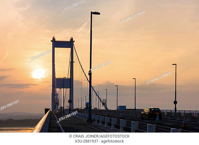 The Severn Bridge carrying the M48 motorway over the Severn Estuary to Wales at Aust, Gloucestershire, England