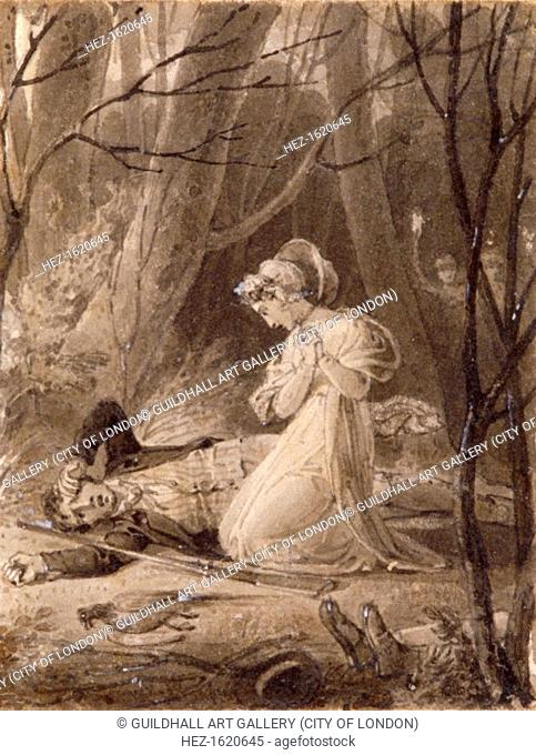 Scene from George Crabbe's Tales of the hall, 19th century. Rachel mourning the dying Robert