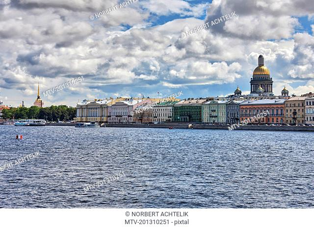 Buildings and St. Isaac's Cathedral across the Neva River, Saint Petersburg, Russia