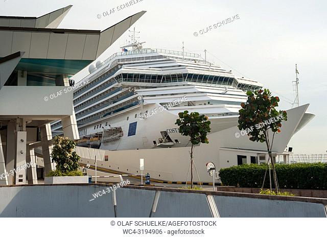 Singapore, Republic of Singapore, Asia - A cruise ship is docked at the Marina Bay Cruise Centre Singapore