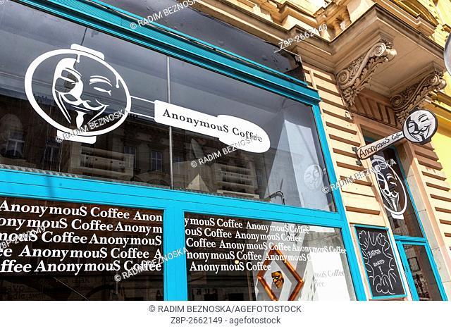 Anonymous Coffee. window display,Zitna street, Prague. Czech Republic
