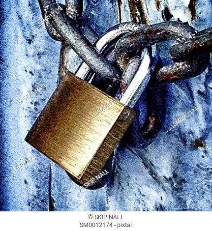 Closeup of a padlock and chain