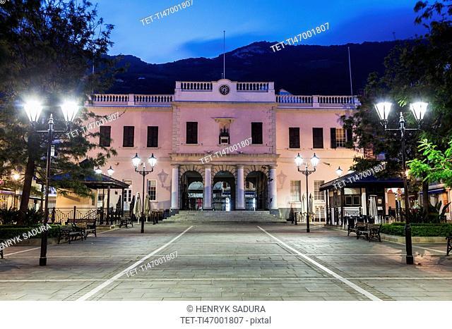 Gibraltar, Gibraltar City, Gibraltar Parliament on John Mackintosh Square at night
