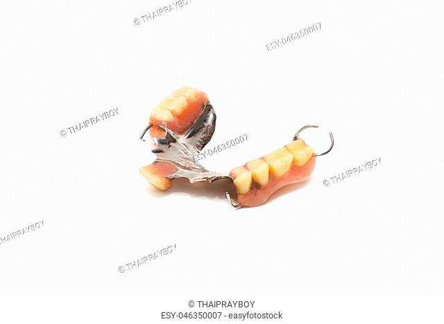 old man real denture with plastic type and stainless steal type