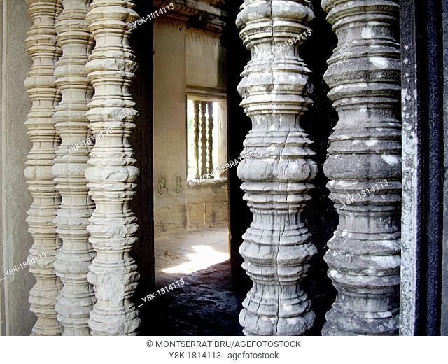 Balustered windows at Angkor Wat, Cambodia
