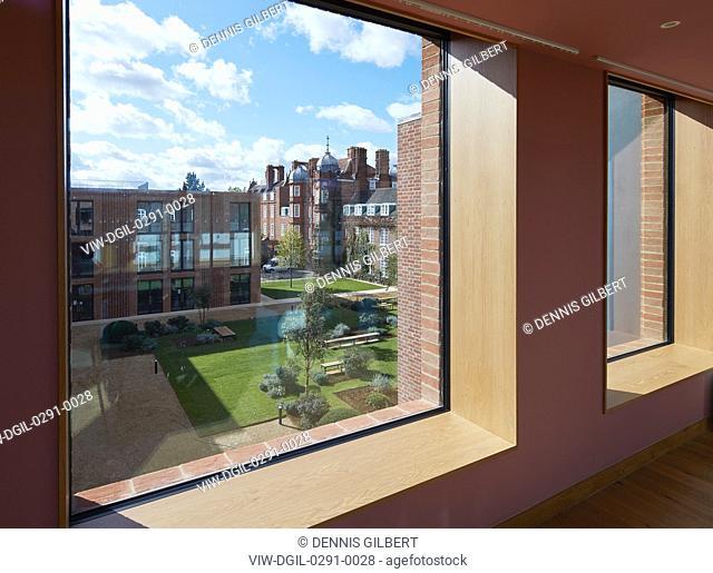 View towards courtyard garden from student kitchen. Newnham College, Cambridge, Cambridge, United Kingdom. Architect: Walters and Cohen Ltd, 2018